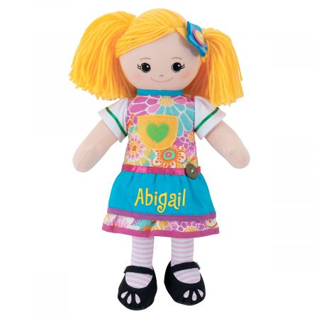 Personalized Blonde Rag Doll with Apron Dress