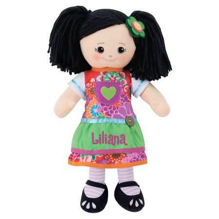 Personalized Asian Rag Doll with Apron Dress