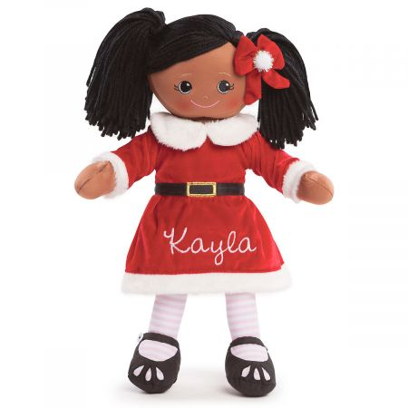 Personalized African American Rag Doll in Santa Dress