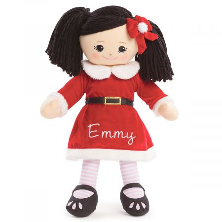 Personalized Asian Rag Doll in Santa Dress