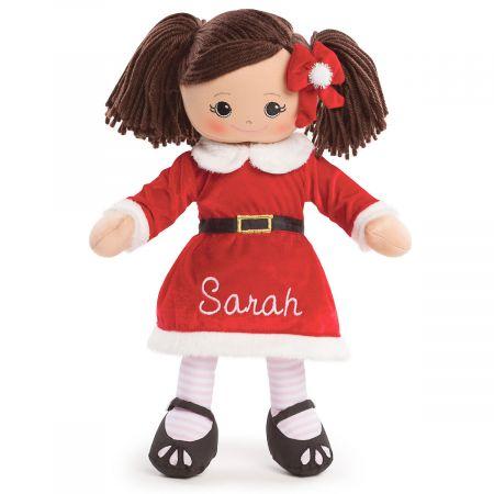 Personalized Hispanic Rag Doll in Santa Dress