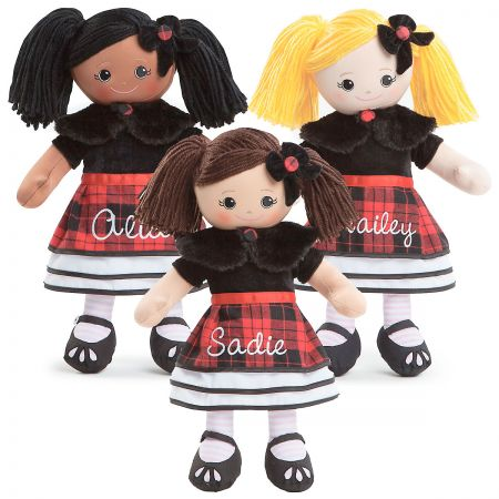 Personalized Rag Doll in Plaid Dress
