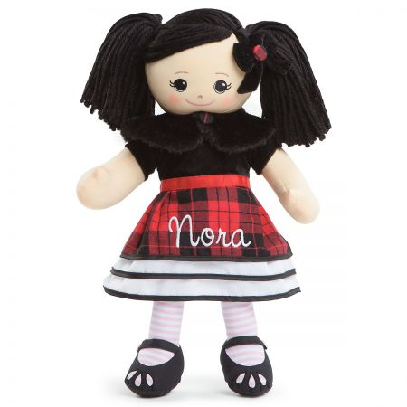 Personalized Asian Rag Doll in Plaid Dress