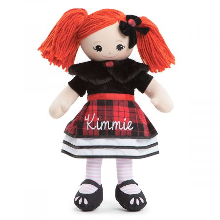 Personalized Red-Hair Rag Doll in Plaid Dress