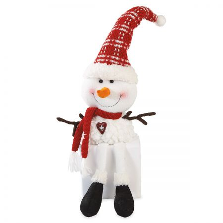 Snowman Stocking Cap Plush Shelf Sitter