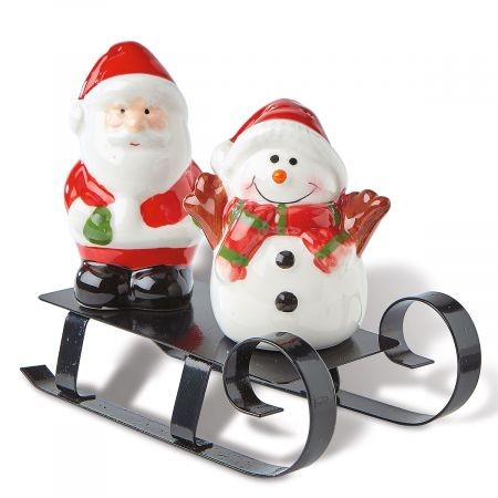 Sledding Santa and Snowman Salt and Pepper Set