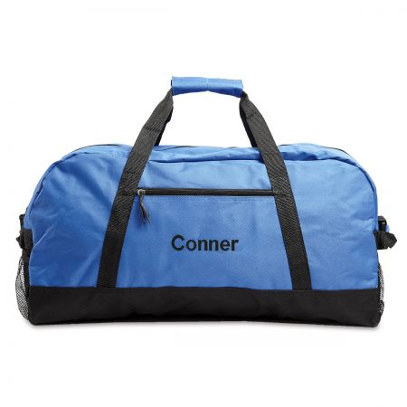 Blue and Black Personalized Duffel Bags