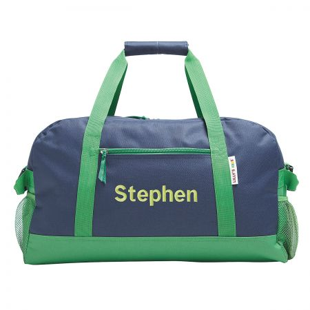 Navy and Green Personalized Duffel Bags