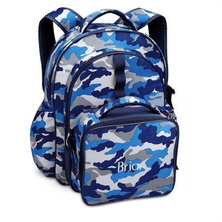 Blue Camo Backpack with Attached Lunch Bag