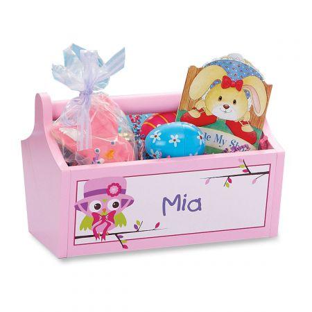 Pink Wooden Owl Basket-Pink-Z811357