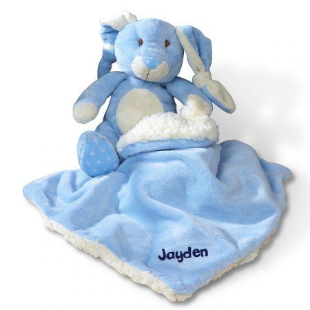 Velvety-Soft Bunny Blanket-Blue-Z813783B