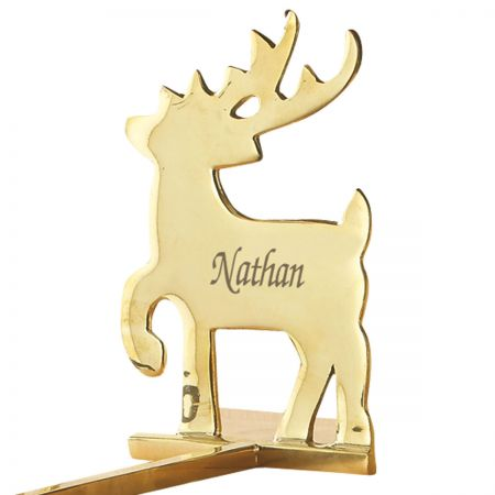 Reindeer Solid Brass Personalized Christmas Stocking Holder