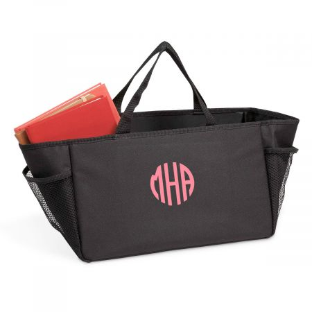 Car Console Organizer Tote - Circle with Monogram