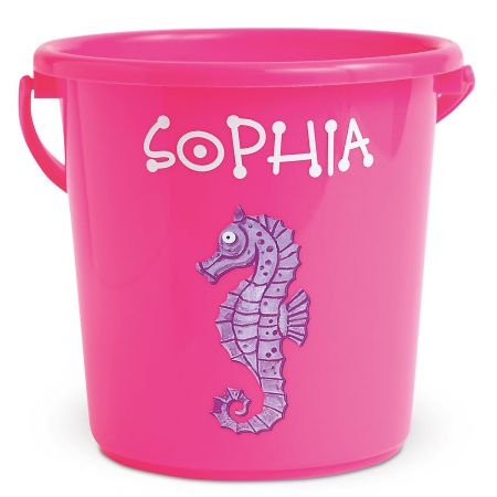 Fun-in-the-Sand Plastic Bucket-Pink-Z814520B