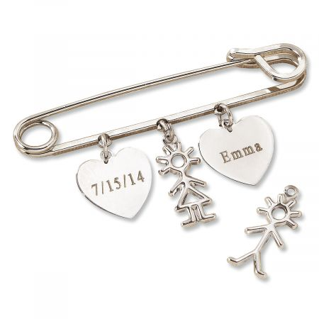 Safety Pin Lapel with Personalized Heart Charms-Boy-Z814809B