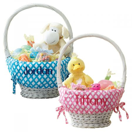 Personalized Lined Natural Wicker Easter Baskets