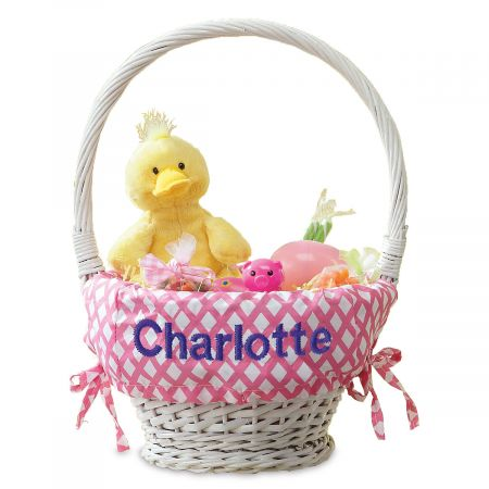 Natural Wicker Easter Basket with Pink Liner