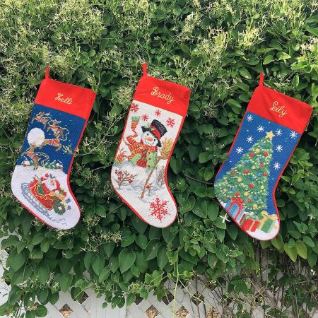 Personalized Christmas Stockings.Christmas Tree Heirloom Needlepoint Personalized Christmas Stocking