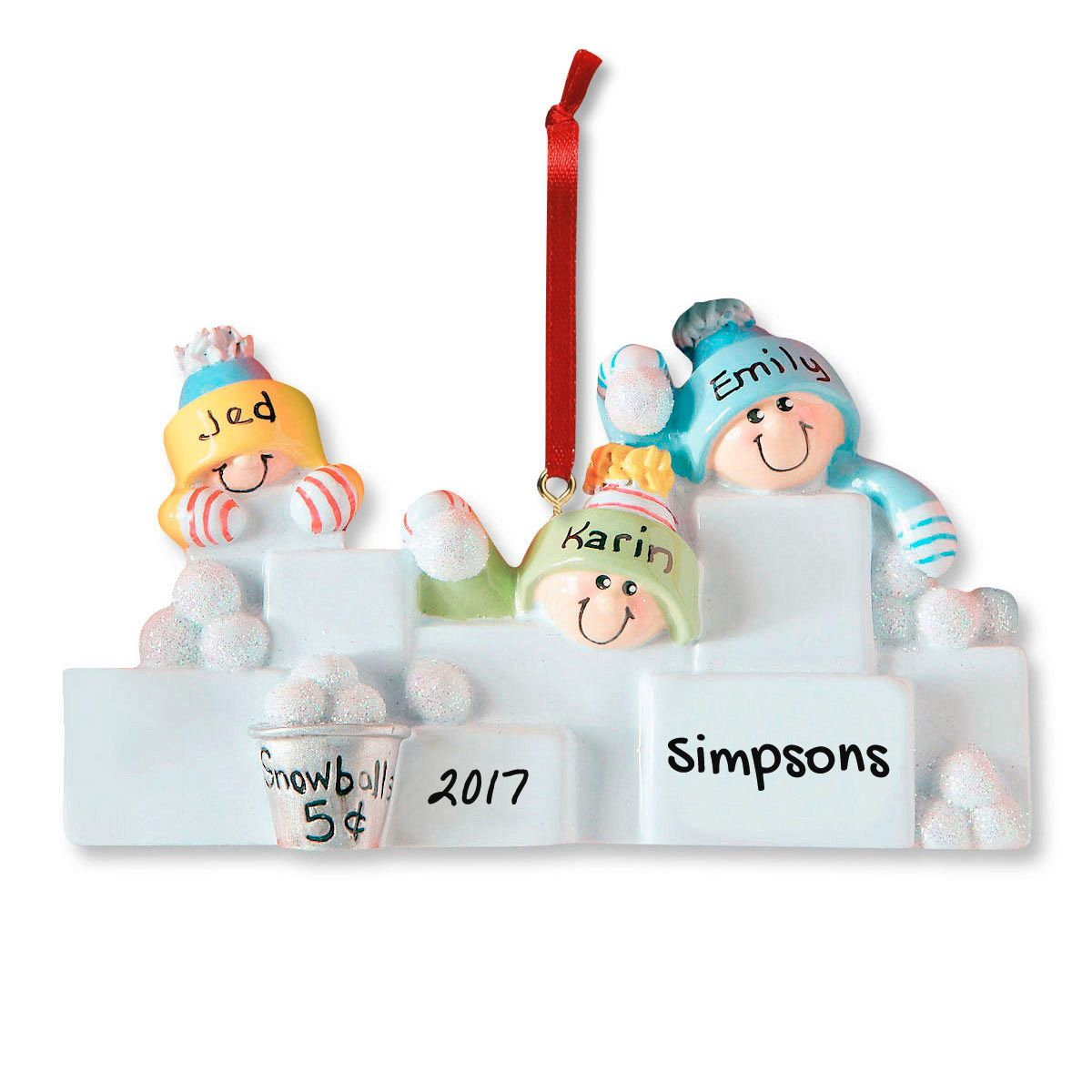 Snowball Fight Personalized Christmas Ornament