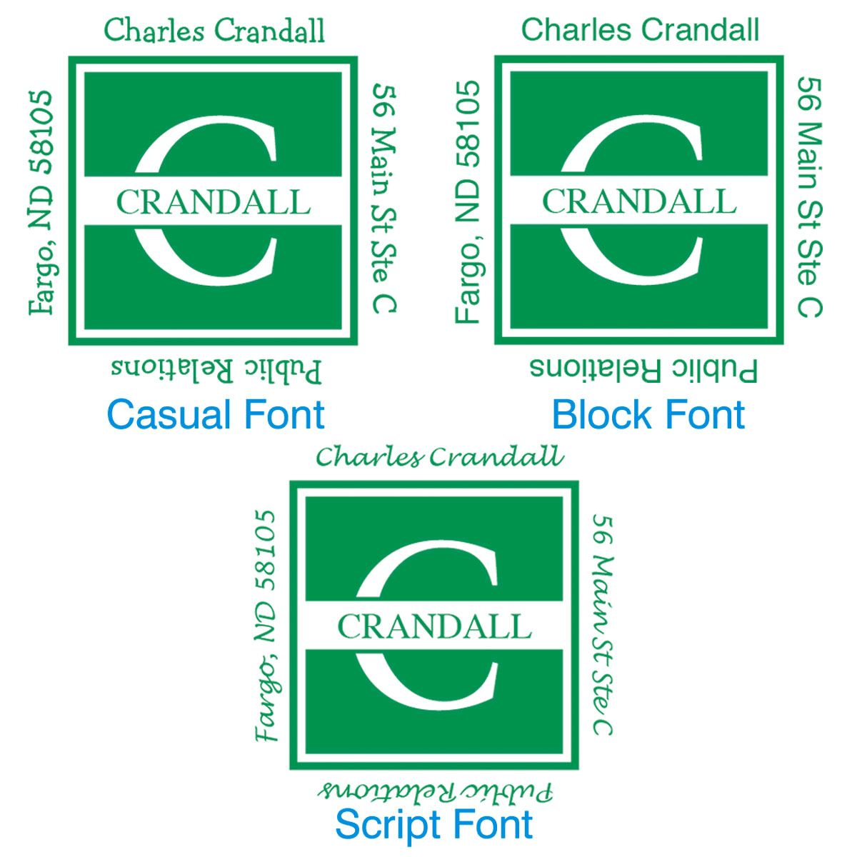 Front & Center Square Address Stamps-Green-478037B