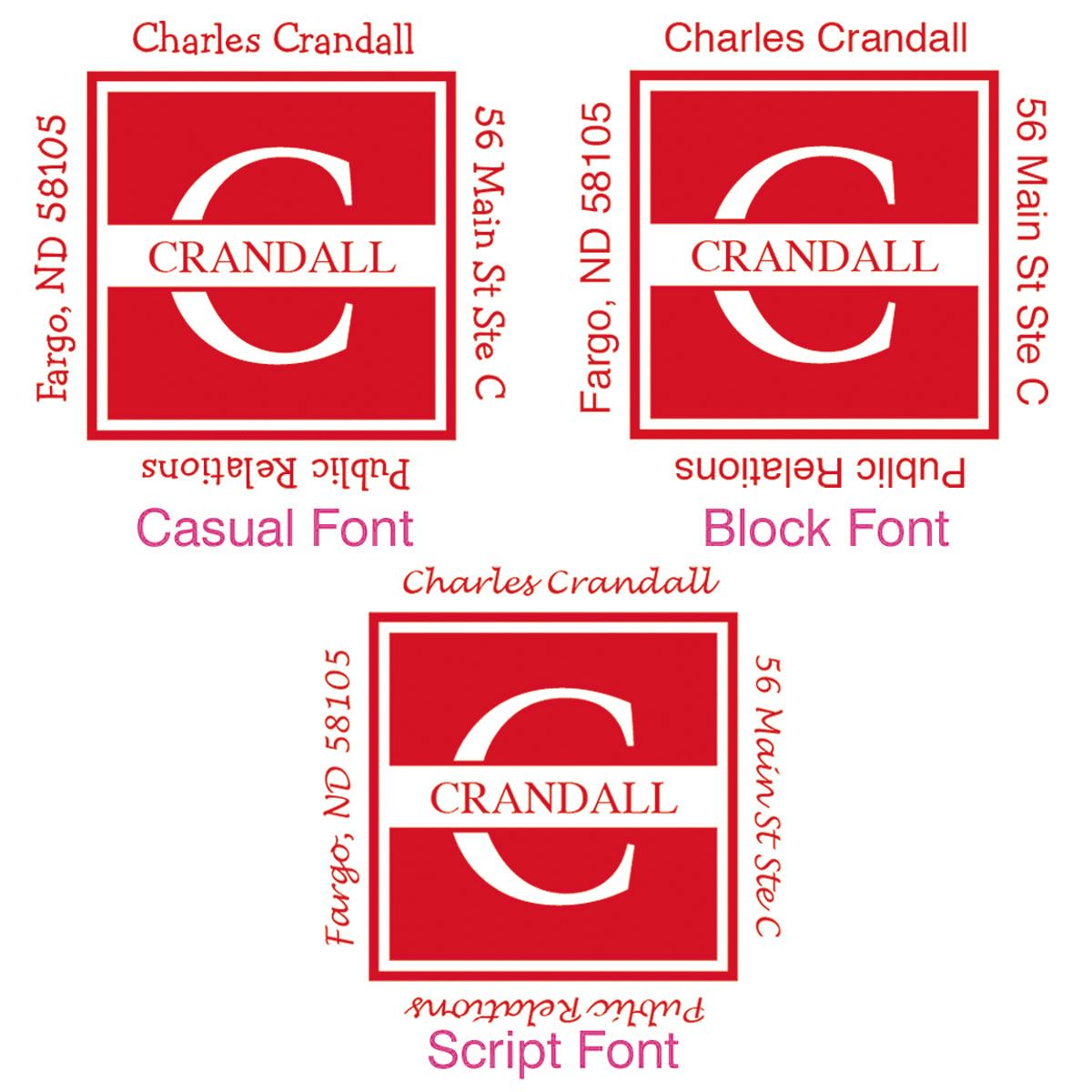 Front & Center Square Address Stamps-Red-478037D