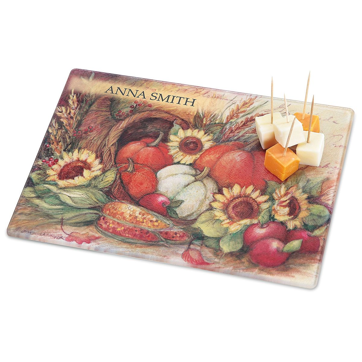 Plentiful Harvest Personalized Glass Cutting Board