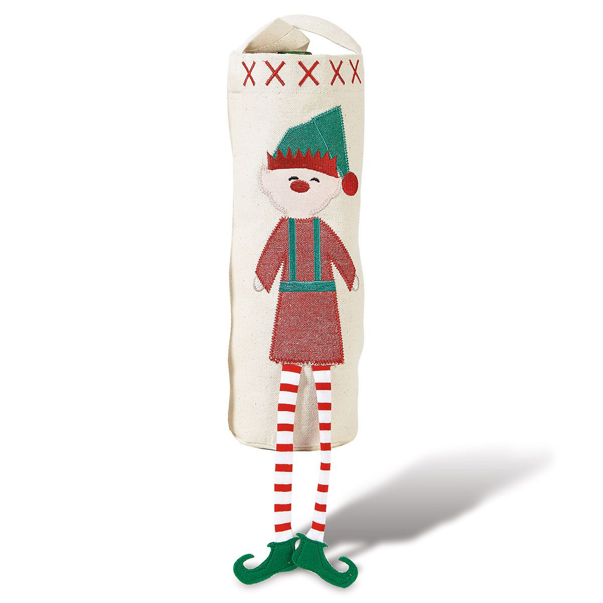 Elf Dangle-Leg Canvas Wine Bottle Cover