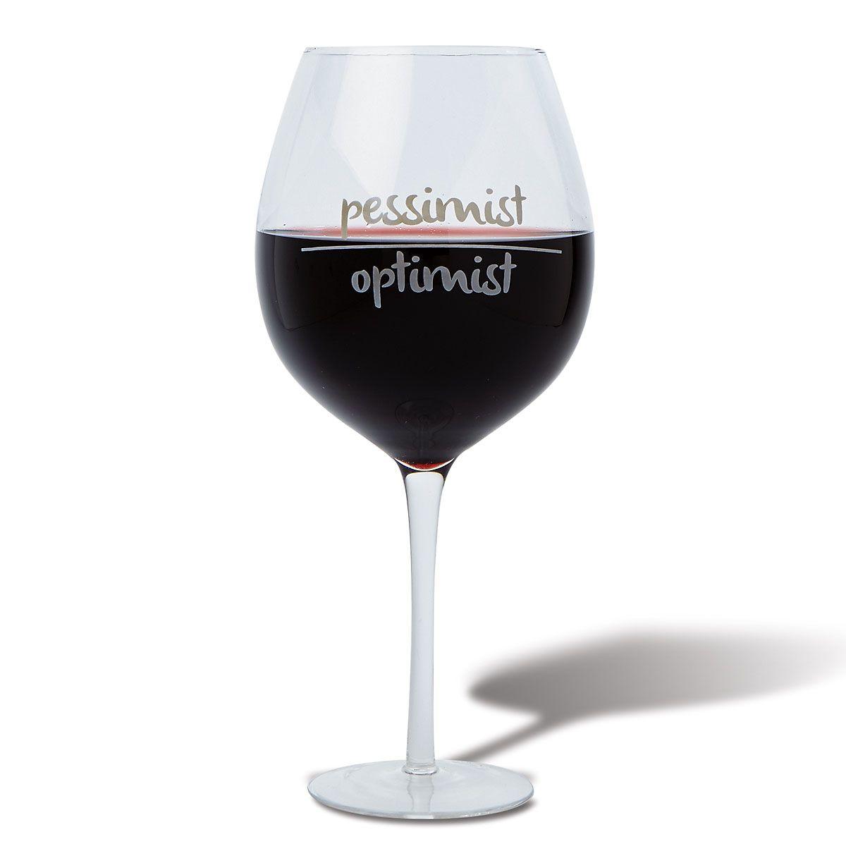 Optimist-Pessimist Giant Wineglass