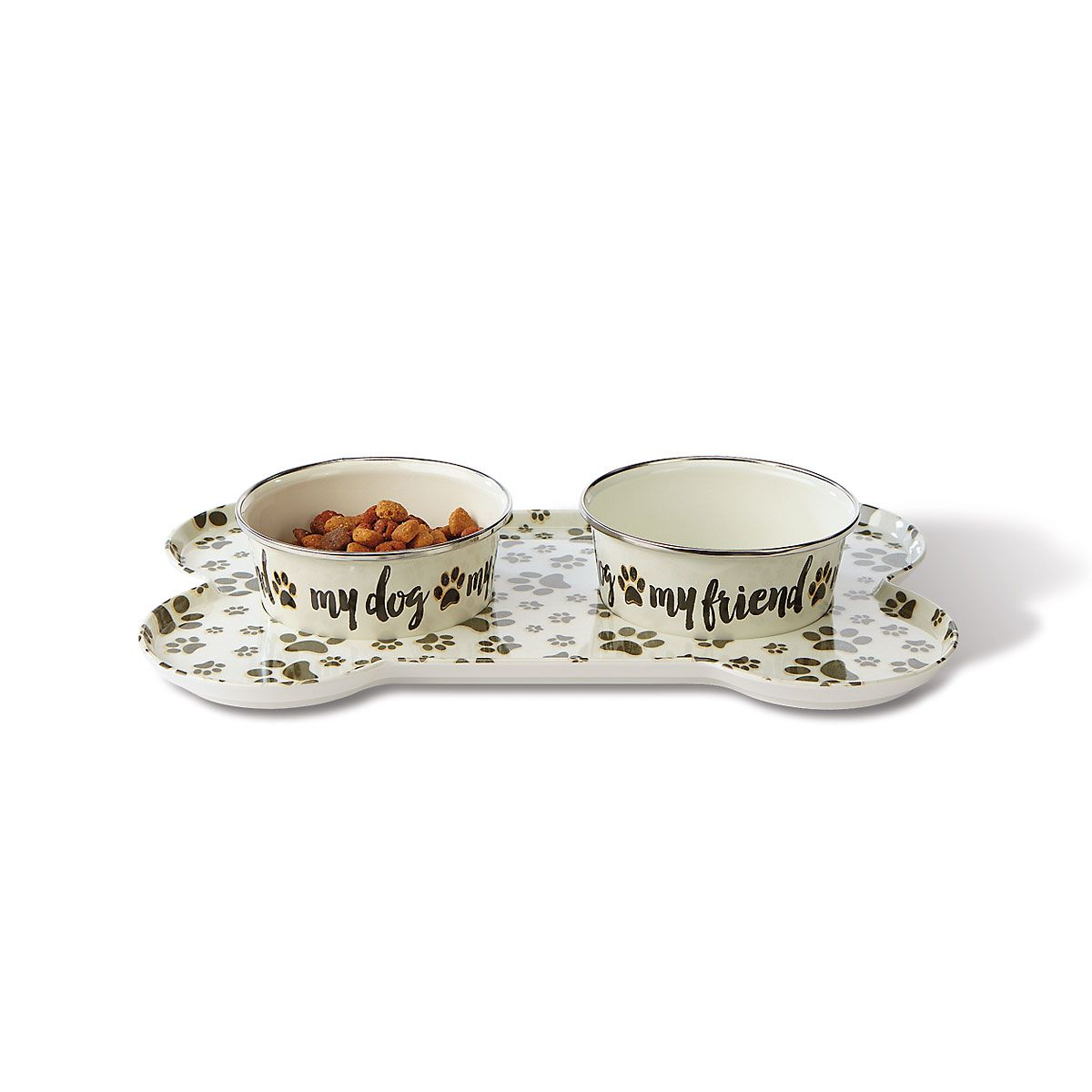 Small Sit-n-Stay Magnetic Pet Tray & Food Bowl Set