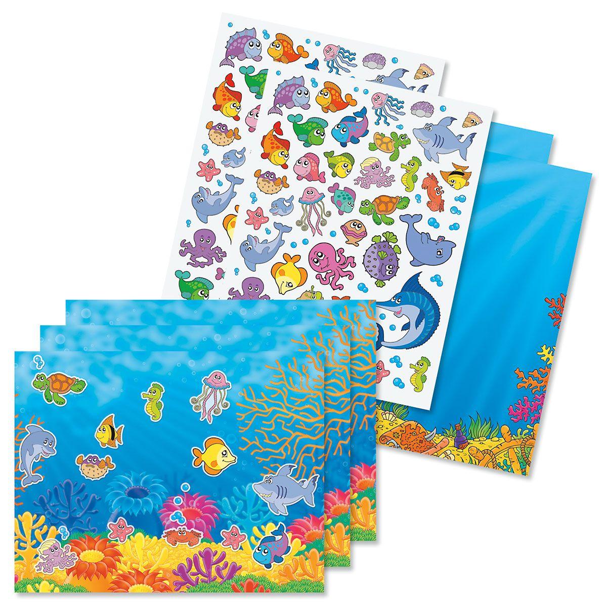 Ocean Adventure Background Scenes and Stickers