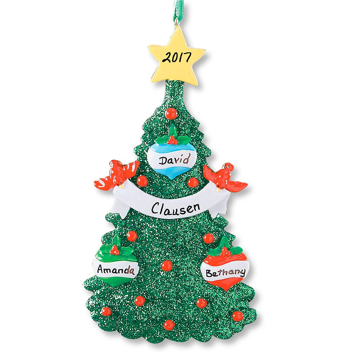 Glitter tree christmas personalized ornaments lillian vernon for Custom christmas tree ornaments