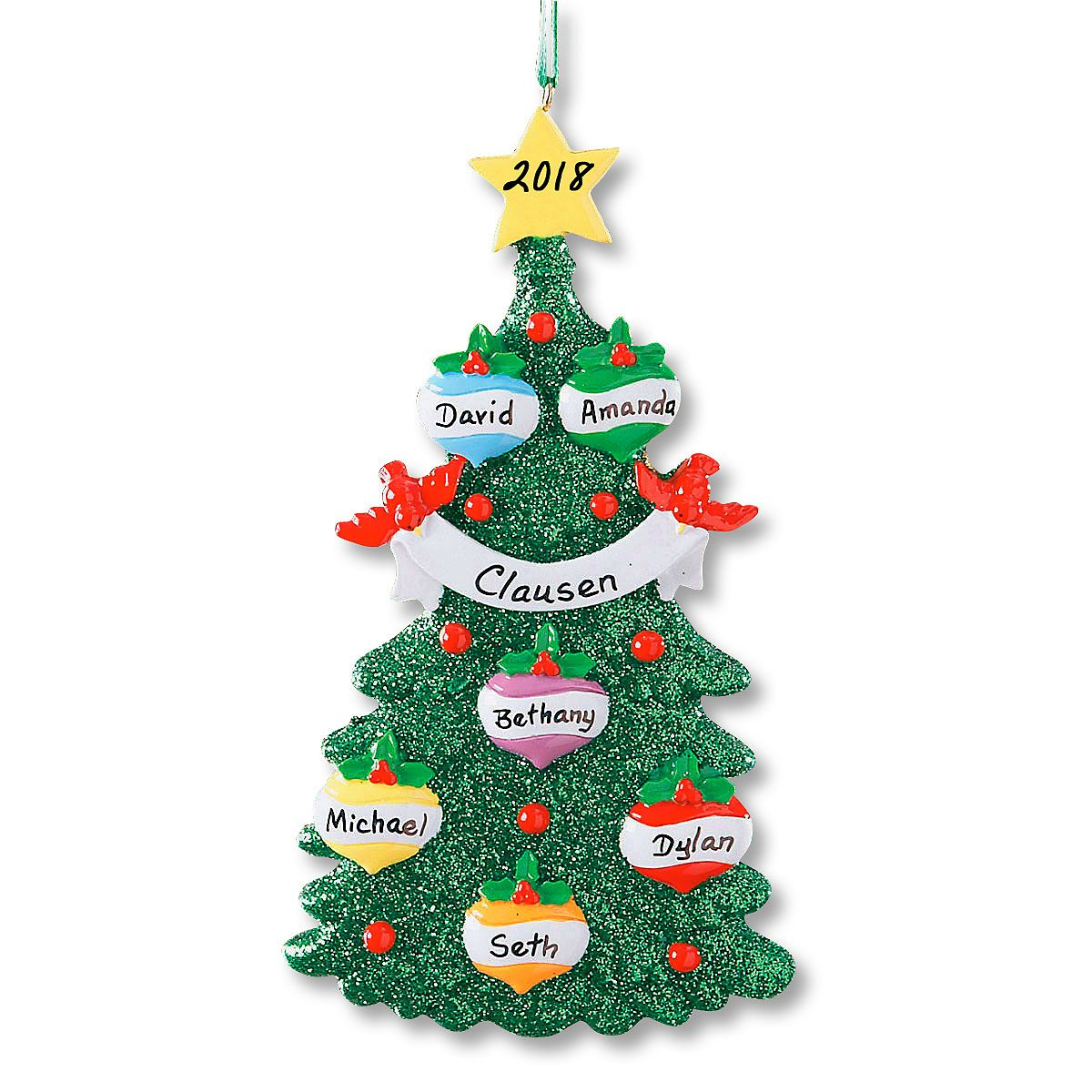 Glitter Tree Ornament-6 Names-607563D