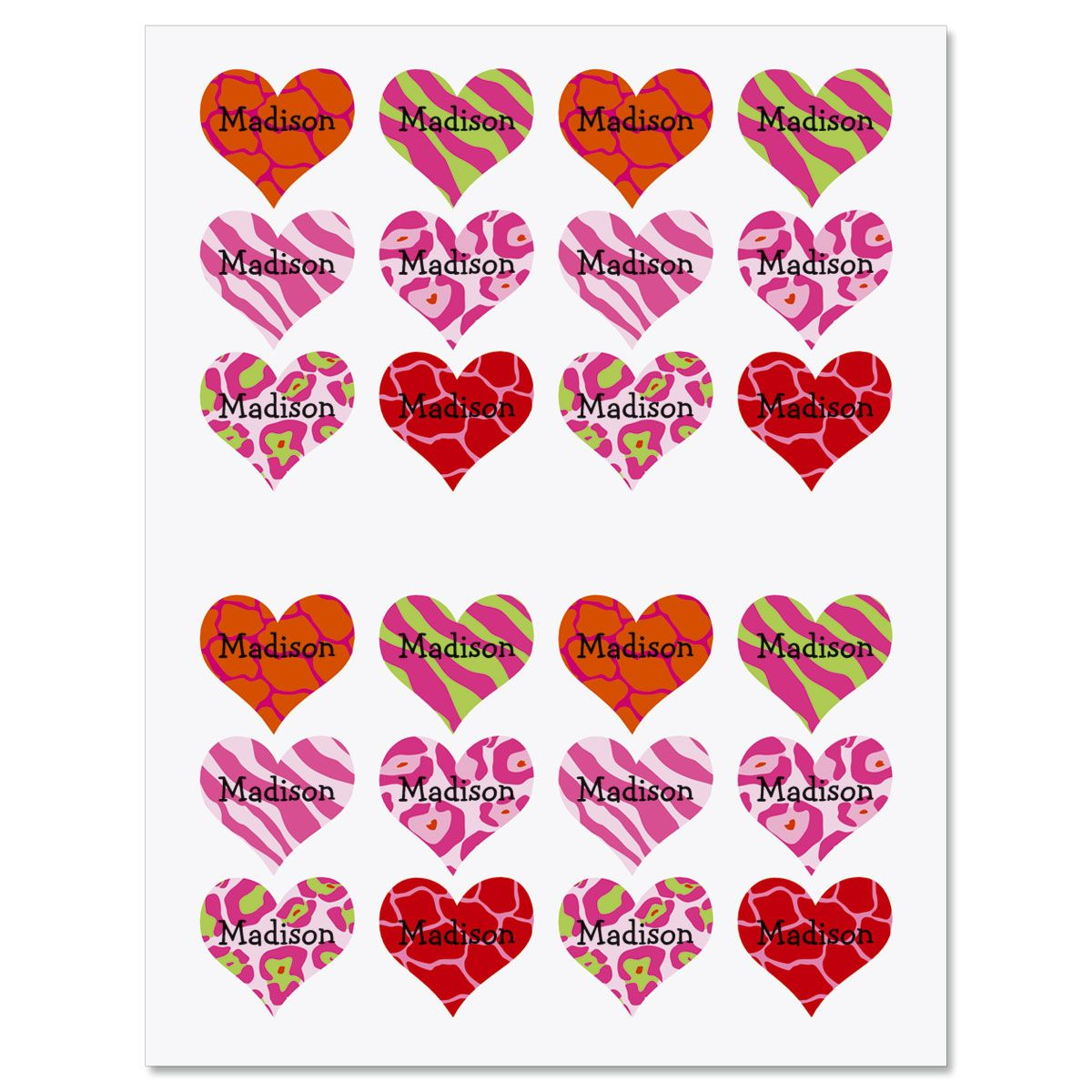 Personalized Animal Print Heart Stickers