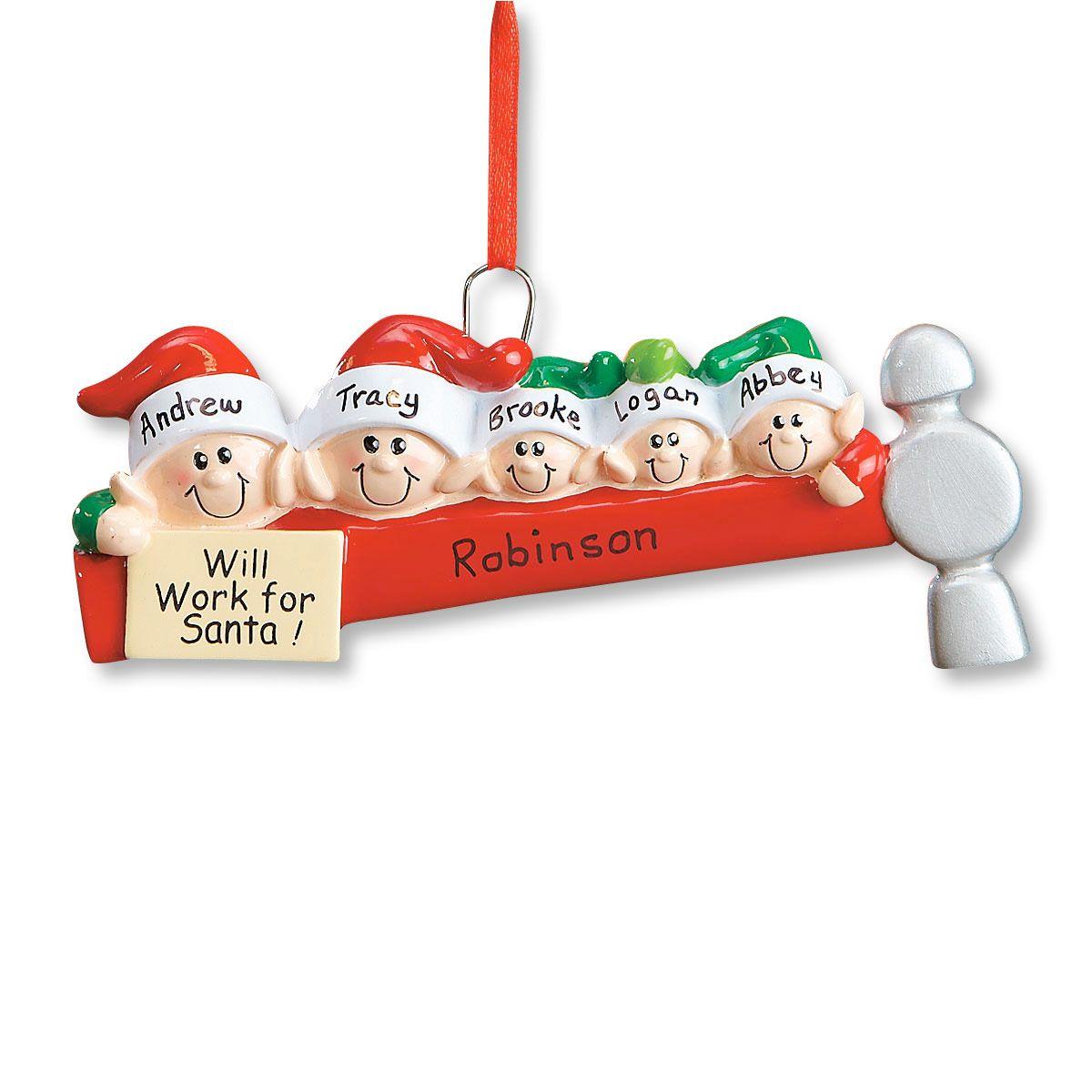 Elf Family Ornament-5 Names-608234D