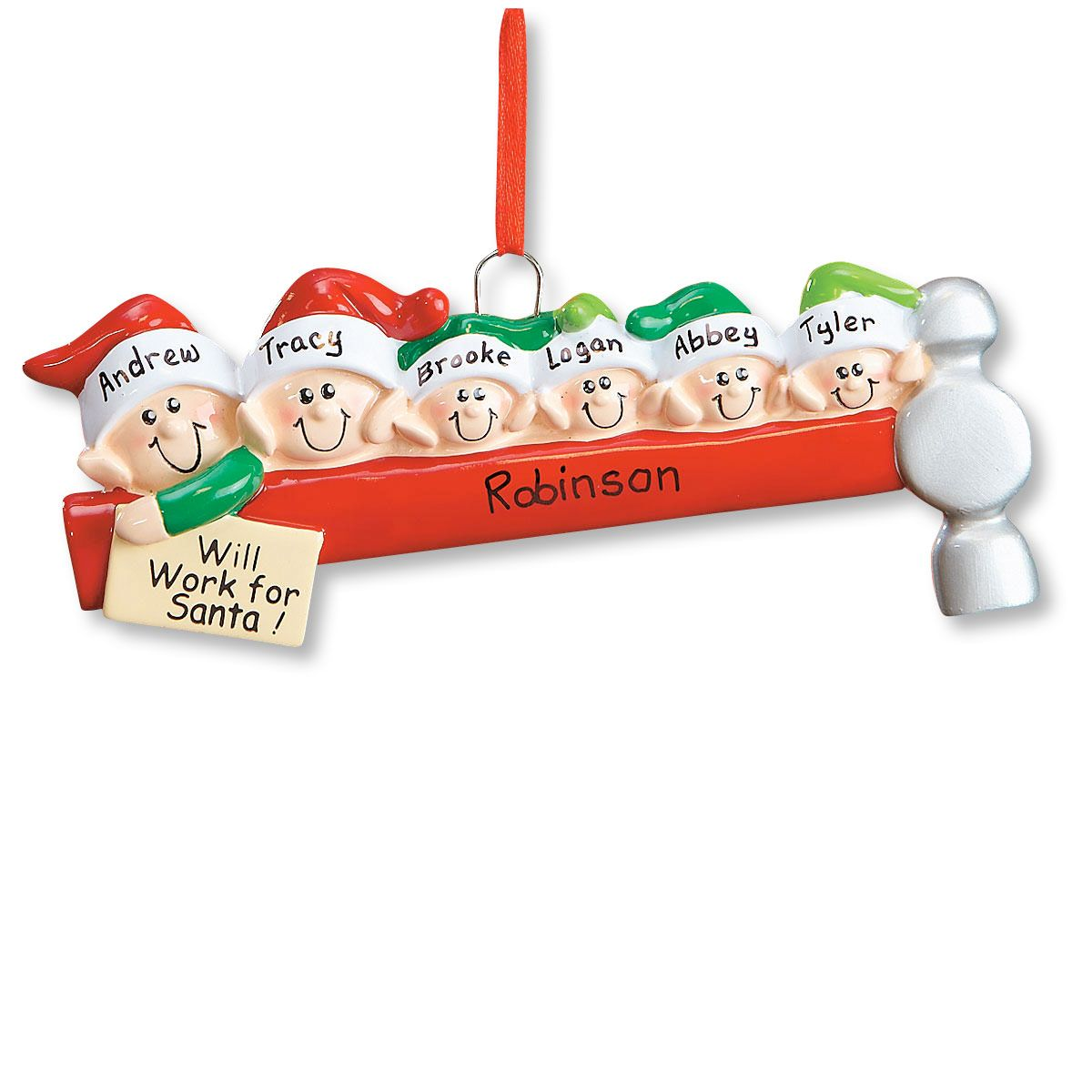 Elf Family Ornament-6 Names-608234E
