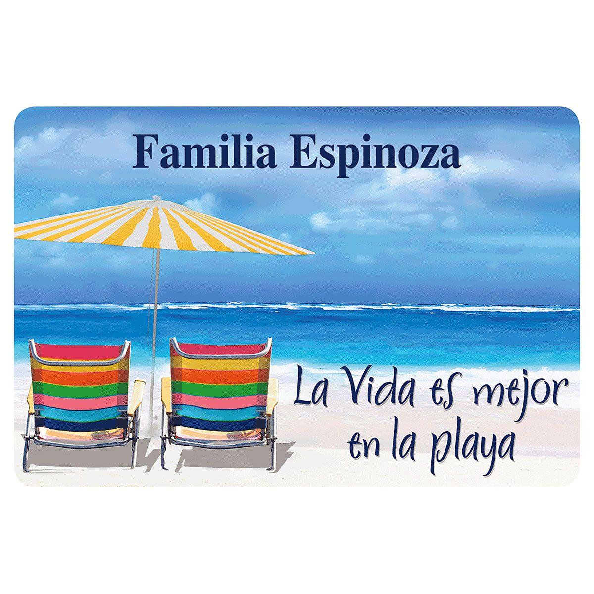Mejor en la Playa Personalized Welcome Doormat