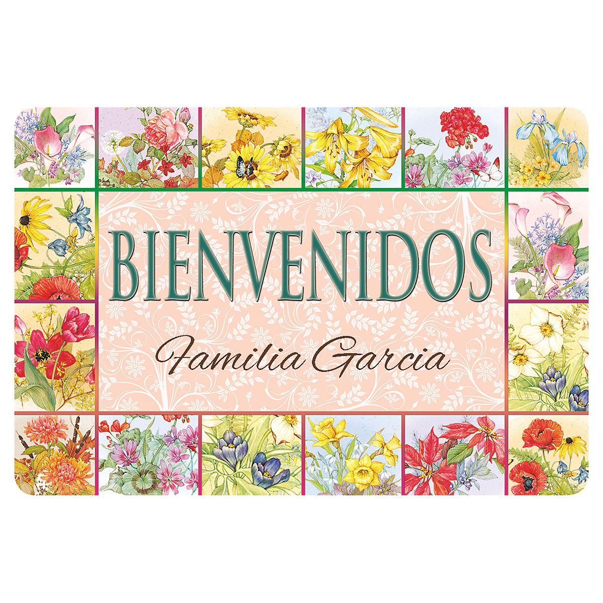 Floral Bienvenidos Personalized Welcome Doormat