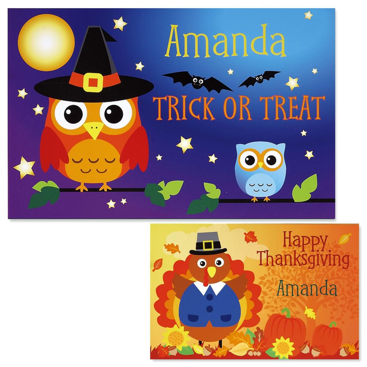 Owls Autumn Personalized Placemat