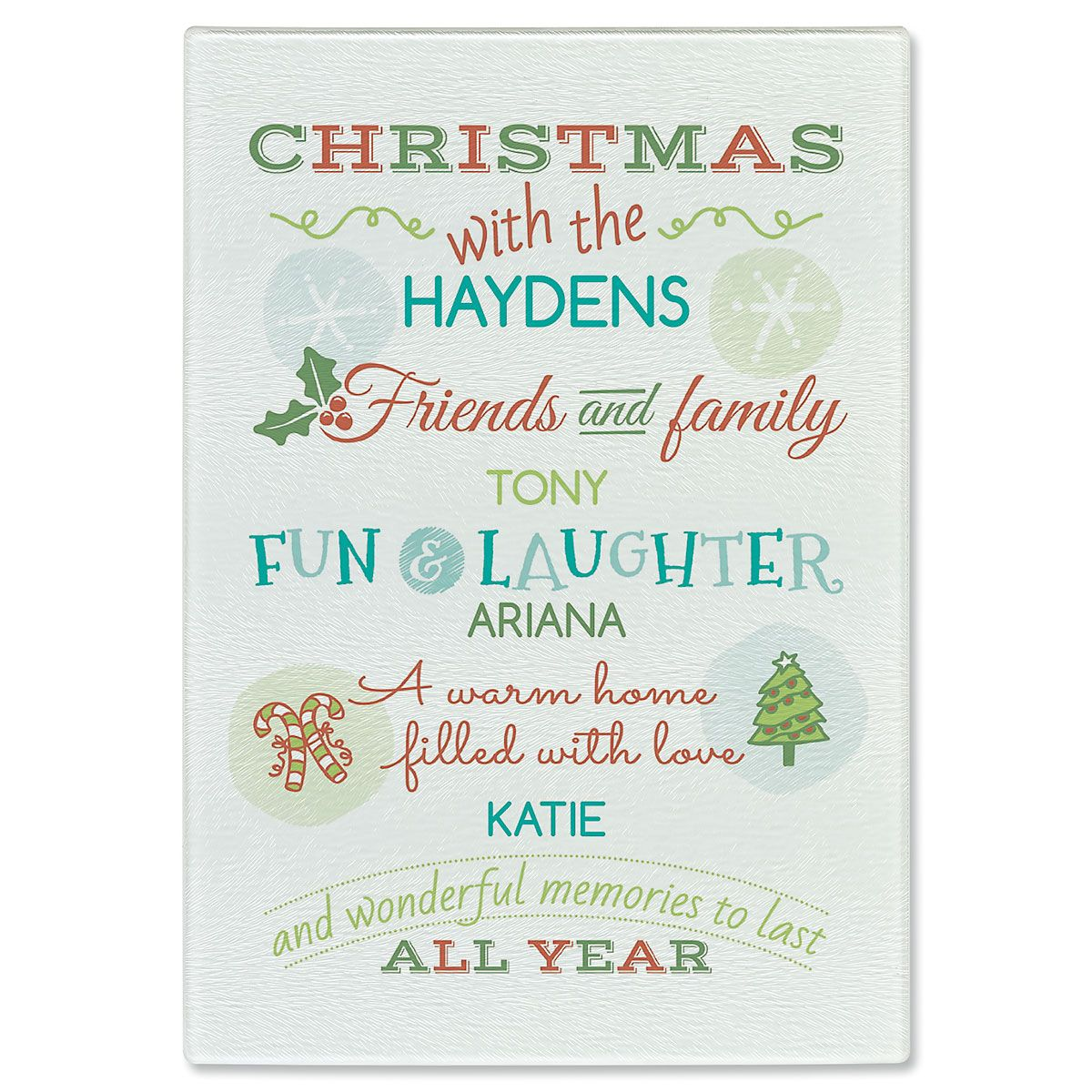 Christmas With Personalized Glass Cutting Board