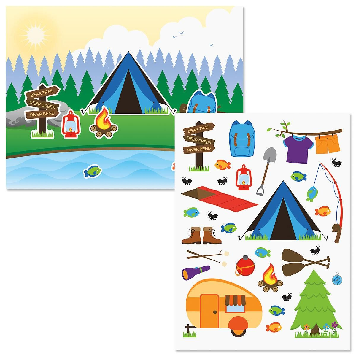 Camping Trip Background Scenes and Stickers