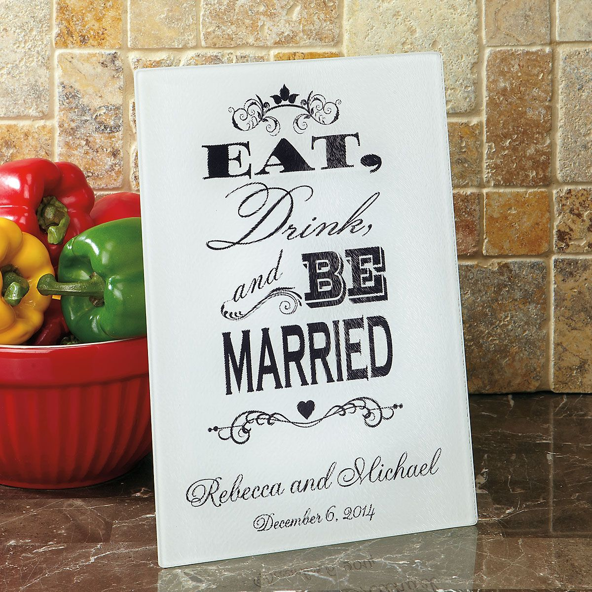 Eat, Drink, and Be Married Personalized Glass Cutting Board