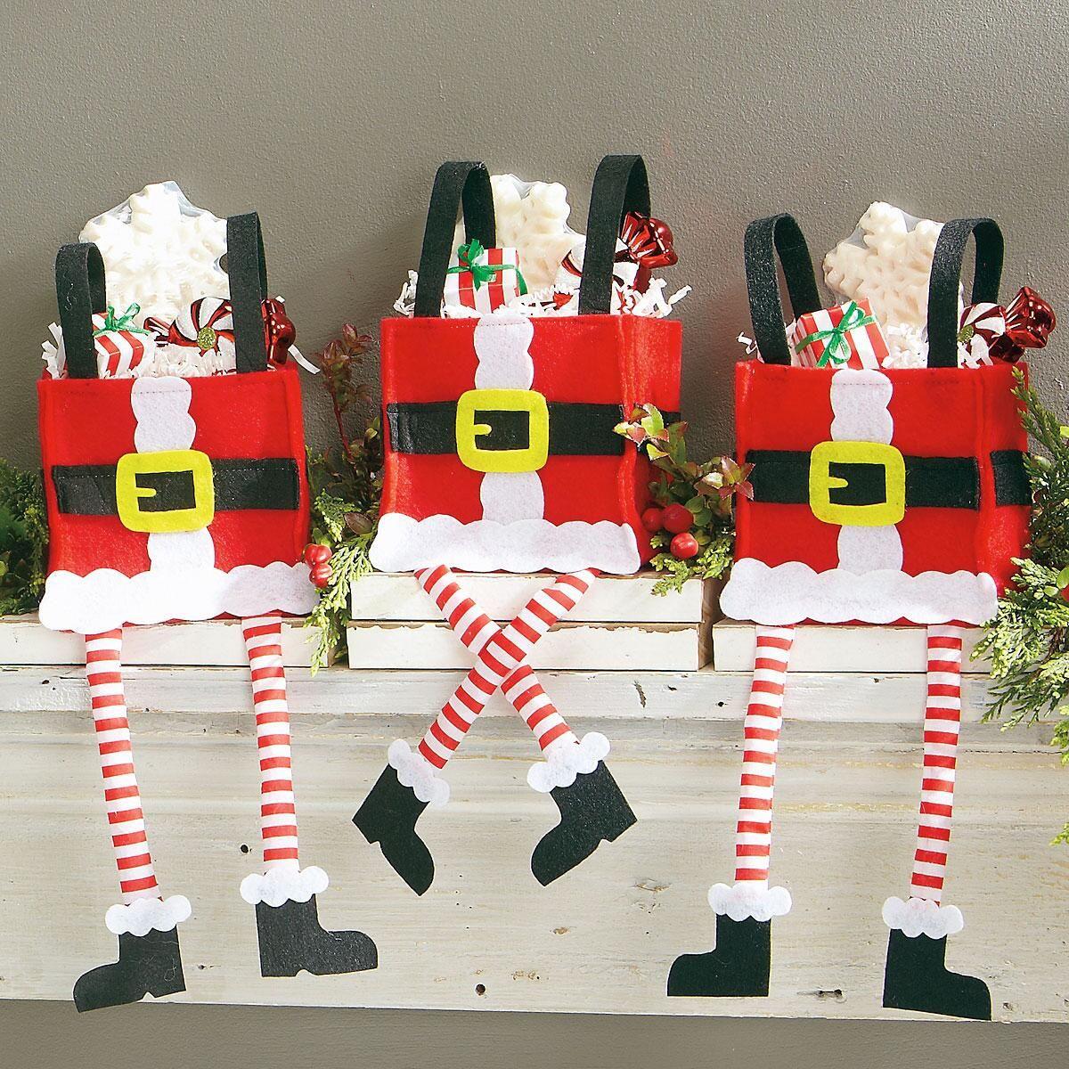 Dangling Santa Legs Treat Bags