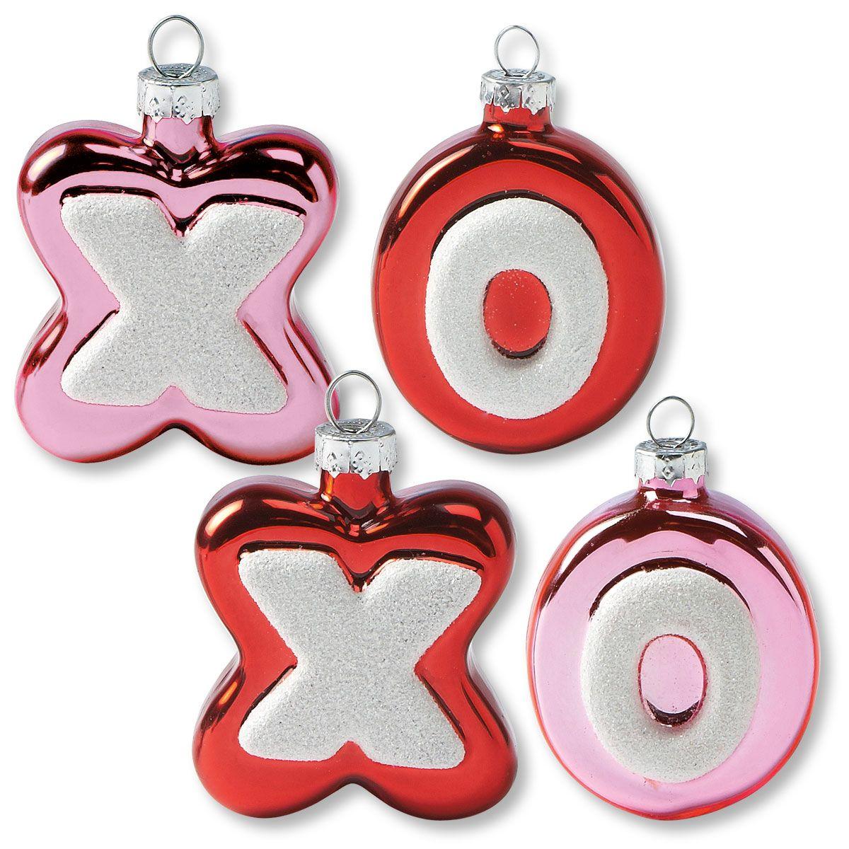 8 Glass XO Ornaments