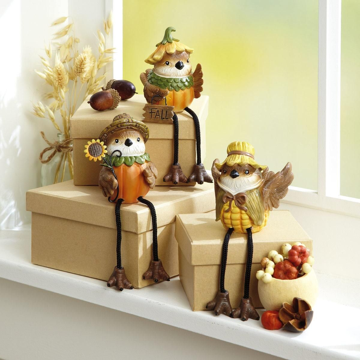 Autumn Bird Sitter Figurines