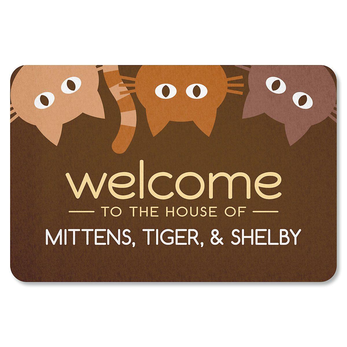 Personalized Cat Welcome Doormat-3 Cats-615568C