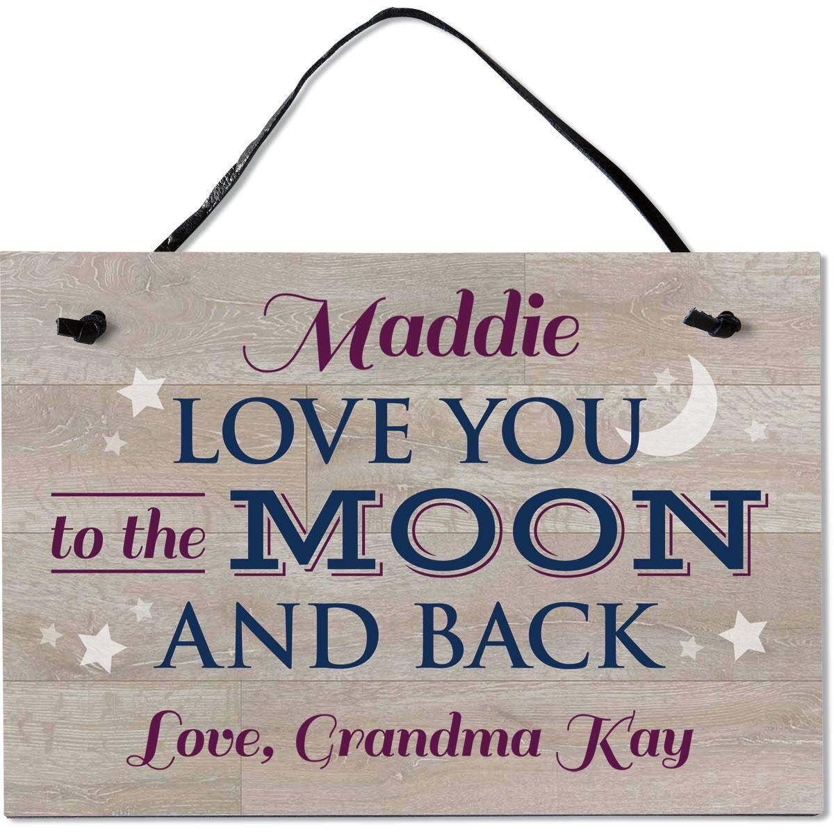 Moon and Back Personalized Wooden Plaque