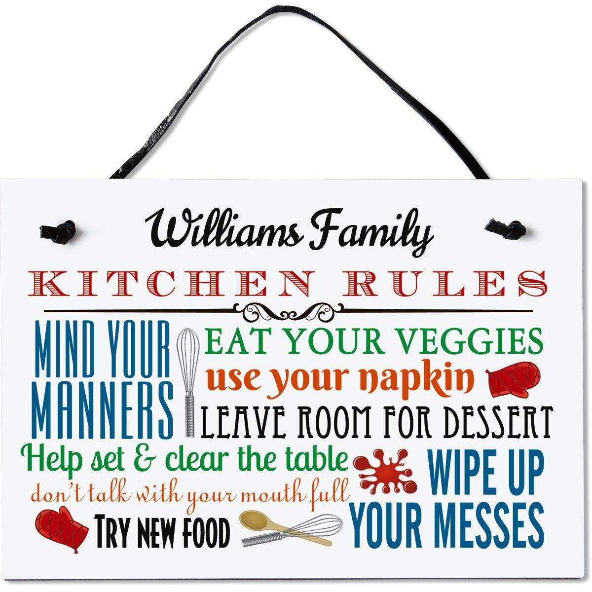 Kitchen Rules Personalized Wooden Plaque