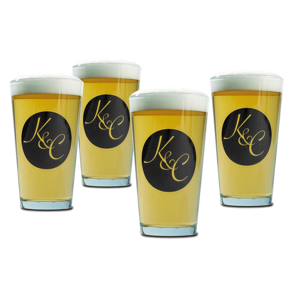 Pint Personalized Beer Glasses - Circle Initial