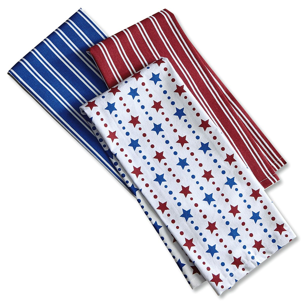 Patriotic Red & Blue Kitchen Towels