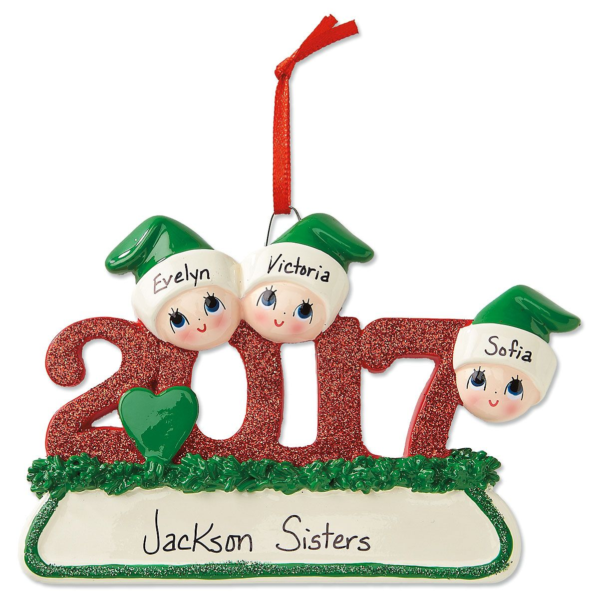2017 Glitter Ornament-3 Names-616411B